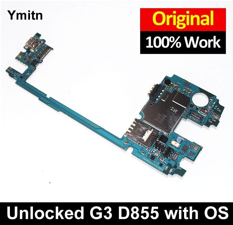 Nouveau Ymitn Débloqué Mobile Électronique panneau carte mère Carte Mère Circuits Câble Pour LG G3 D855 D850 F460 F400 VS985 32 gb /16 gb
