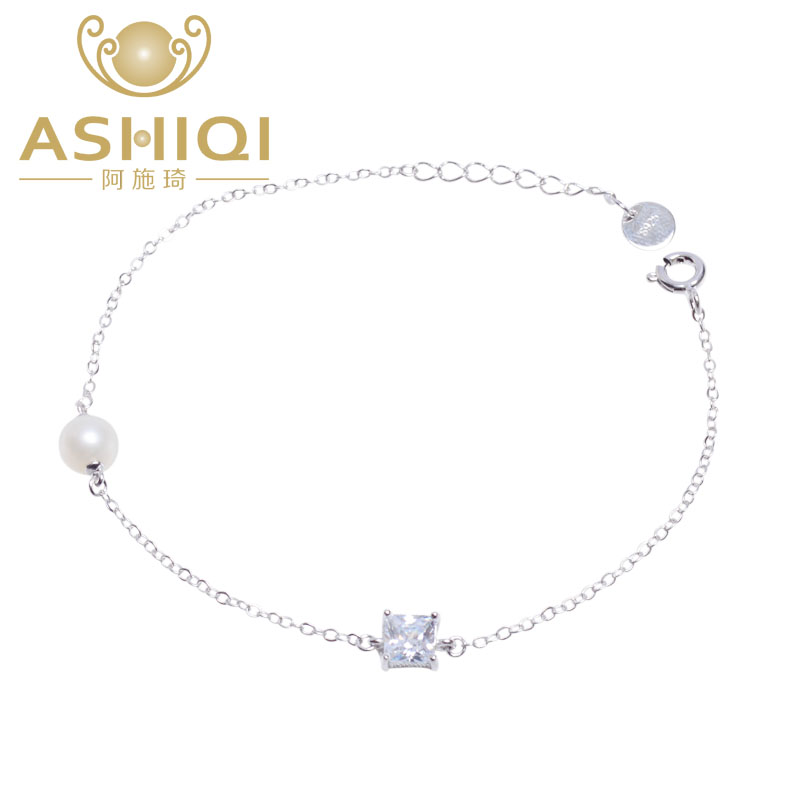 ASHIQI Freshwater Pearl Bracelets For Women 925  Sterling Silver Charm Bracelets & Bangles  Pearl Jewelry Gift
