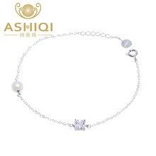 ASHIQI D'eau Douce Perle bracelets pour les femmes 925 sterling silver Charm Bracelets & Bangles perle bijoux cadeau