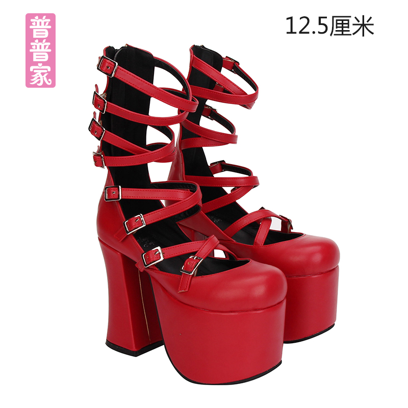 Princess sweet punk shoes Summer and spring round head super high heel fashion cool boots cos cartoon women's shoes pu7015 princess sweet punk shoes japanese summer and spring round head boots cos anime punk super high heel frill muffin boots pu9712
