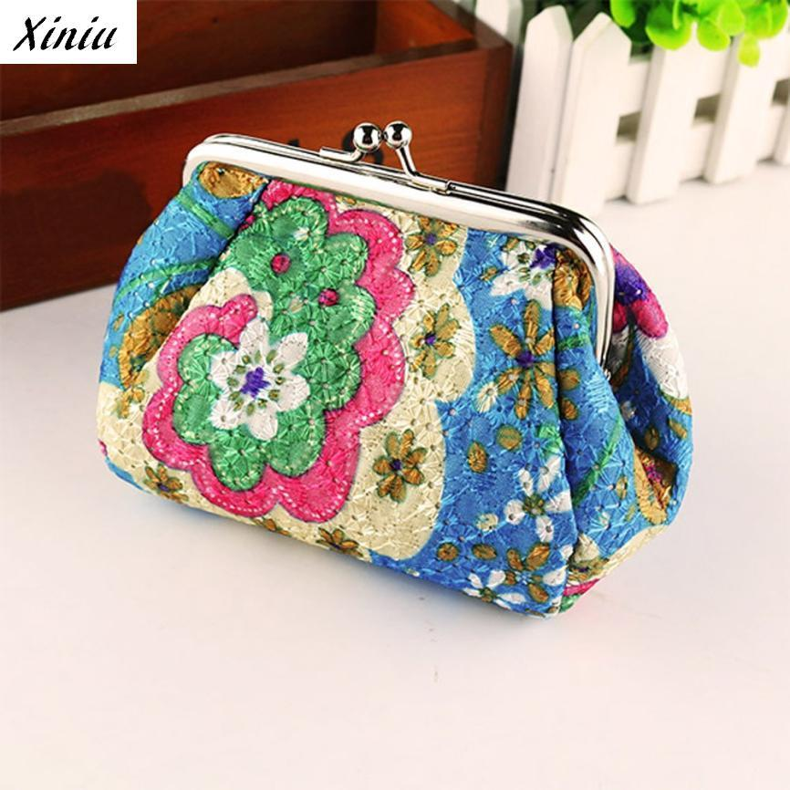 Xiniu Women Coin Purse Retro Embroidered Cloth Floral Printed Vintage Small Wallet Hasp Clutch #2415 цена 2017