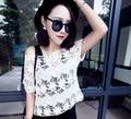 Women Sweet All-Match Sexy Crochet Cutout White Lace Blouse Short-Sleeve Summer Tops Female Shirt
