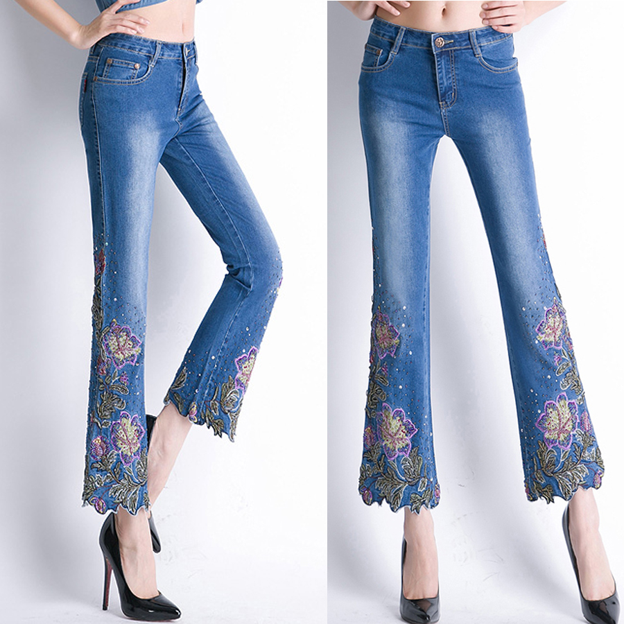 Summer Woman Beads Ankle Length Irregular Jeans Pants With Embroidery , Spring Women Stretched Embroidered Flares Denim Trousers