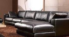 Sofá de plumas de alto grado del cuero genuino sofá 2015 nuevo sofá de la sala especial en forma de L paquete estilo moderno