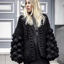 Czarny szydełkowy sweter dziergany damski z długim rękawem zimowy płaszcz kaszmirowy sweter damski sweter damski zimowy 2019 damski sweter tanie tanio SHANGQIMa Cotton 80 Polyester Acrylic Poliester Akrylowe Latarnia rękaw Na co dzień NONE STANDARD REGULAR Kobiety Ręcznie dziane