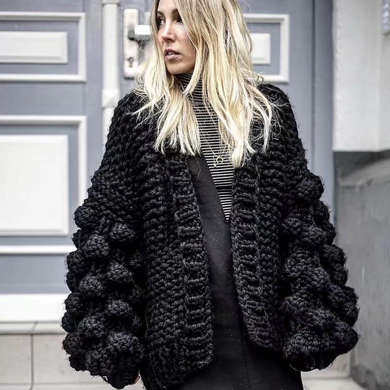 Noir Crochet tricoté Cardigan femmes à manches longues hiver manteau cachemire dames Cardigan chandail femmes hiver 2019 femmes chandails
