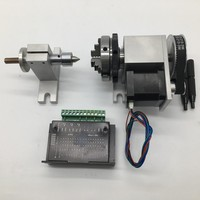 4th 4 Axis Rotary CNC A Axis Rotation 4 Jaws Sanou K02 50 2 Chuck driver&MT2 Tailstock for Router Woodworking Engraving