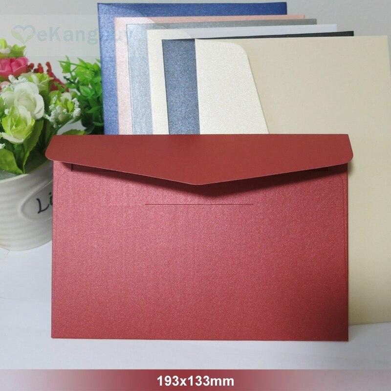 """25 шт./лот 193x133 мм (7,5 """"x 5,2"""") перламутровый цветной бумажный конверт 250 г конверты приглашения для карт Подарочный конверт-in Бумажные конверты from Офисные и школьные принадлежности"""