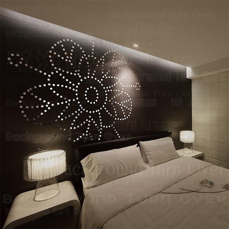 Creative point rond 3d acrylique miroir stickers muraux fleur salon chambre décor maison décoration plastique miroir décalque R097