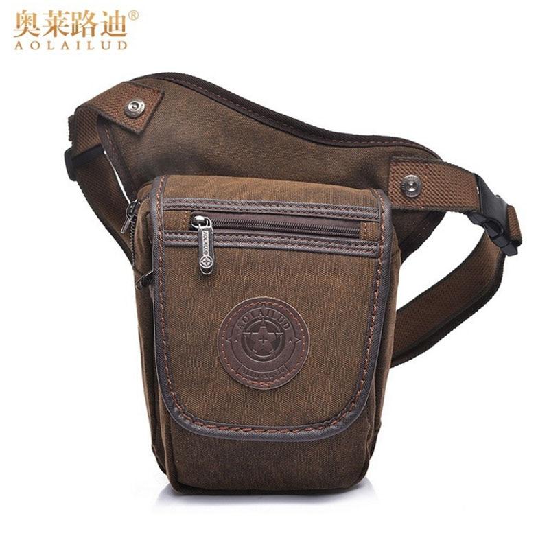Υψηλής ποιότητας καμβά ανδρών Drop ποδιού τσάντα Στρατιωτική Μοτοσικλέτα Ride Travel Αρσενικό Bum μαύρη ζώνη Fanny Pack Μικρή Messenger τσάντα ώμου