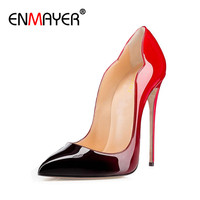 ENMAYER 2017 Sexy Women Patent Leather Pointy Evening Dress Pumps High Heels Stiletto Ladies Party Shoes