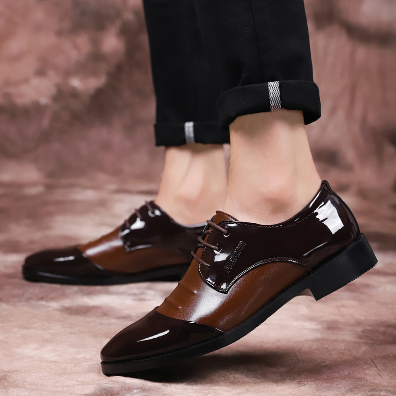 68 Verni Black Vogue Lace Formelle 28 Doux Bout En Casual brown Chaussures Cuir Oxfords Hommes Grande Marque Taille Up Élégant Pointu SgqHwgxU
