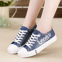 Fashion Denim Canvas Shoes Women Casual Unisex Trainers Lace Up Breathable Ladies Basket Femme Sneakers Flats