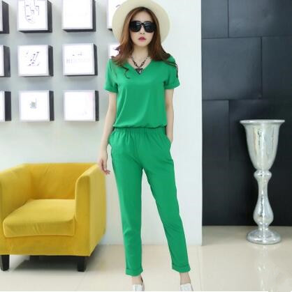 2018 Women   Jumpsuit   Summer Party Chiffon Overalls for Women Elegant Green Ankle-Length Bodysuit