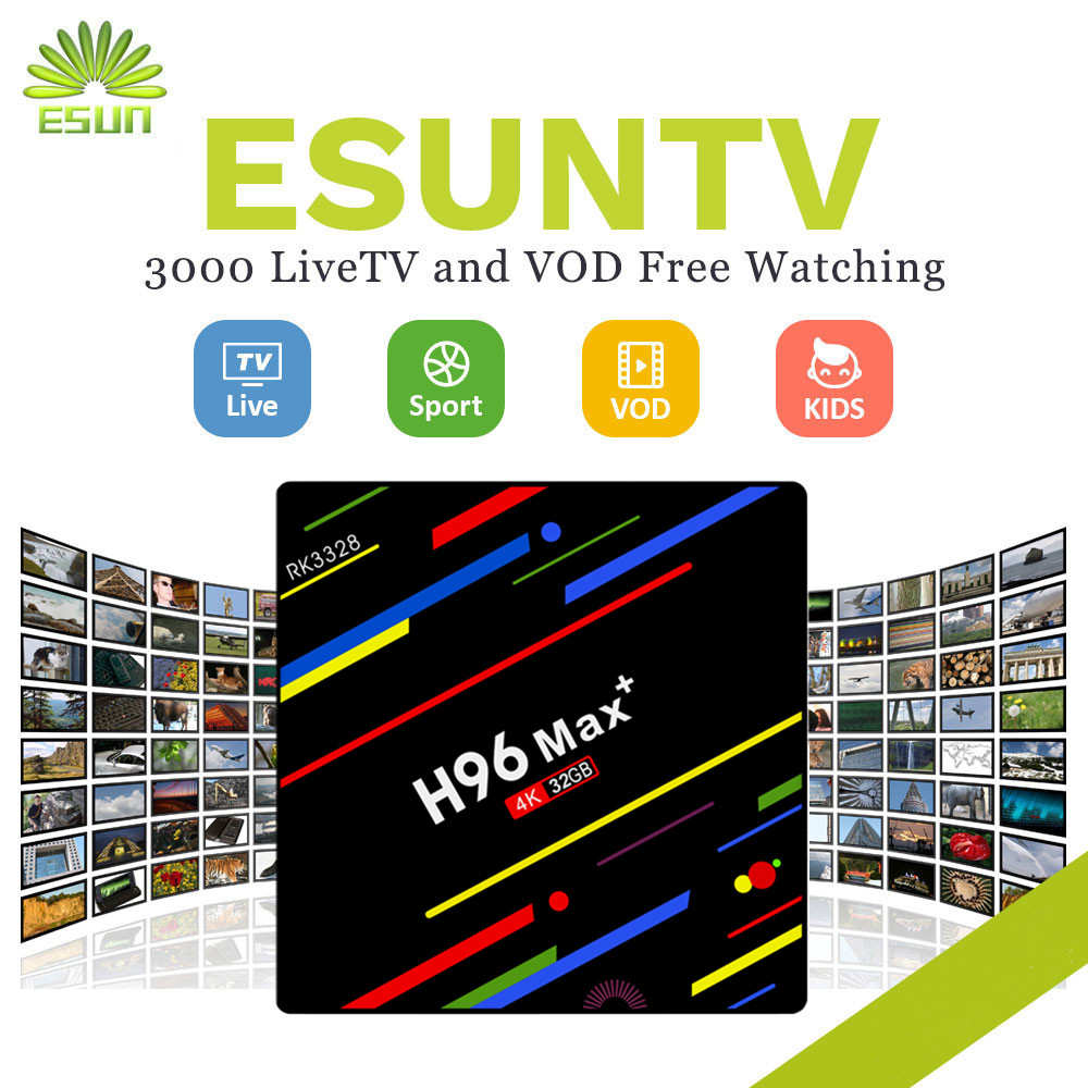 1 Year IPTV Included H96MAX+ ESUNTV 4000+Channel Android 8.1 TV BOX 4/64G With Europe Channels VOD Spain Portugal IPTV+EPG a95x pro voice control with 1 year italy iptv box 2g 16g italy iptv epg 4000 live vod configured europe albania ex yu xxx
