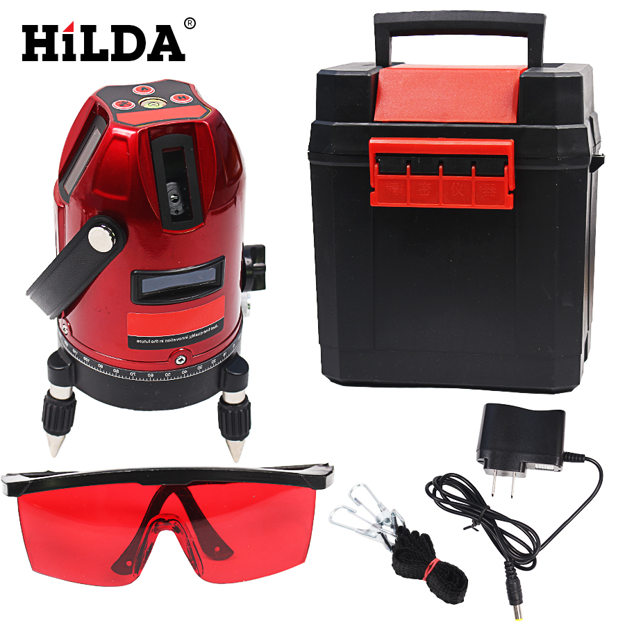 HILDA 5 lines 6 points laser level 360 rotary cross laser line leveling can be used with outdoor receiver  цены