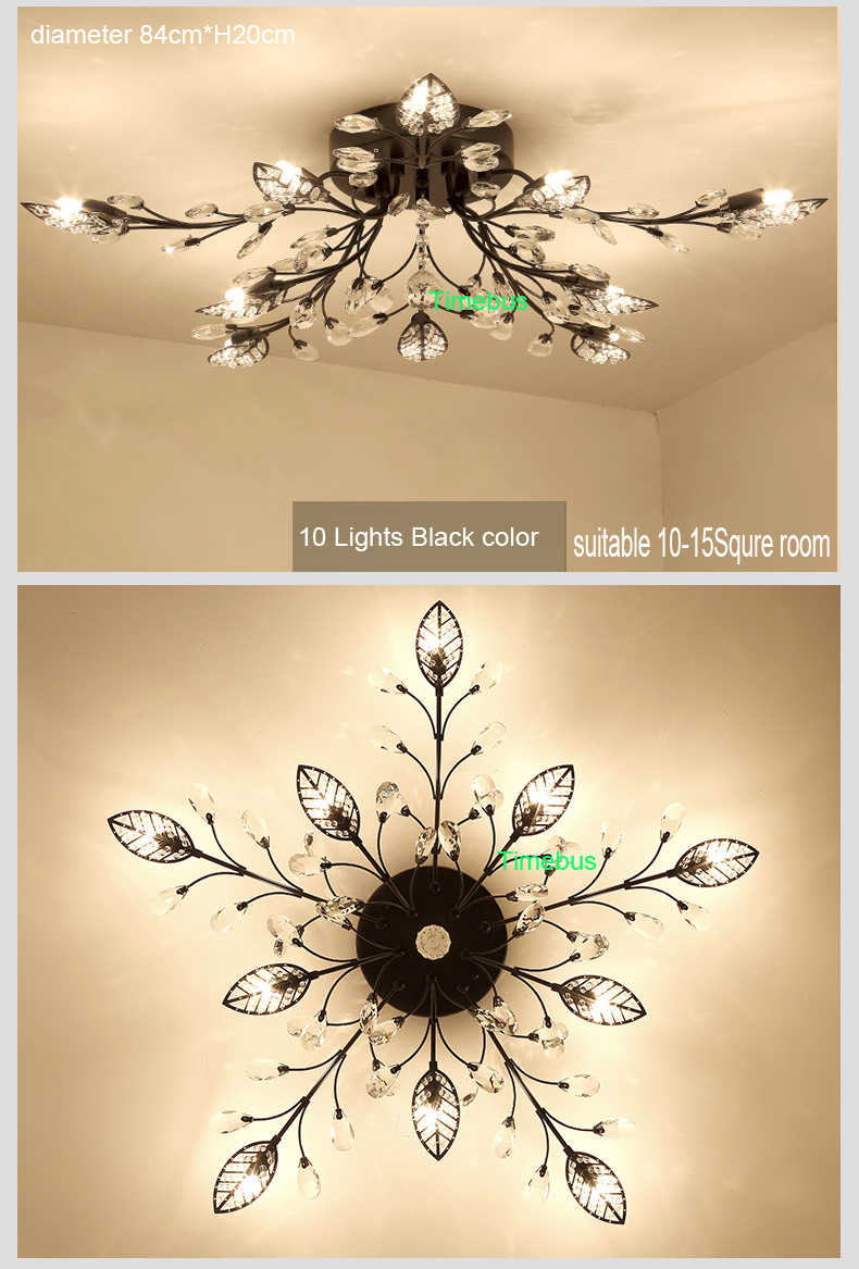 Bedroom ceiling lights iron retro house lighting fixtures round crystal ceiling light for living room crystal