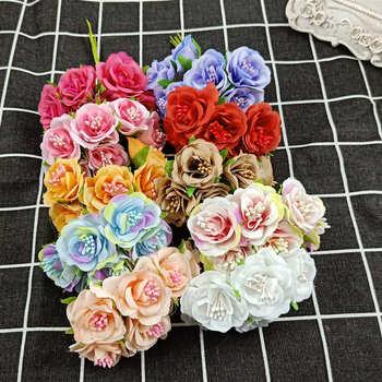 Conjunto De 6 uds./lote De Mini Margarida De Seda Rosa Artificial, con Flores De Casamento DIY, decoración con Flores De Papel Para