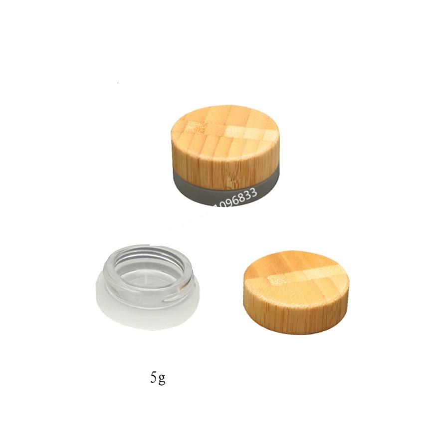 10pcs Special Frosted 5ml Cosmetics Glass Bottle Bamboo Glass Jar Bottle Small Mini Refillable Glass Bottle Eye Cream Jar 5g