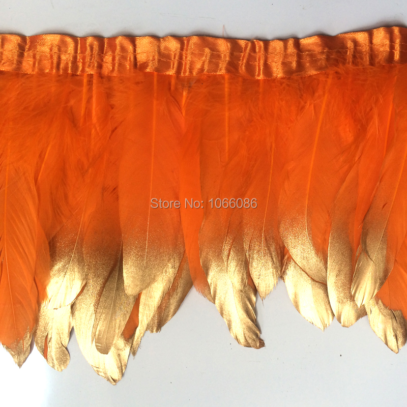 2yard/lot gold paint spray goose feather fringes 15-20cm turquoise with gold tips goose feather trims 2y/pc
