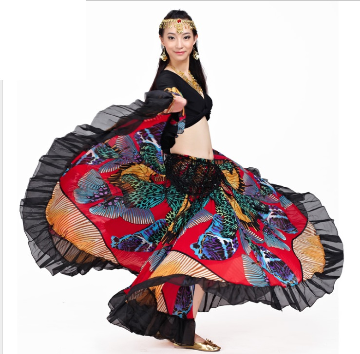 ladies big flower skirt belly dancer fancy belly dance skirts Gypsy Bohemia Full Circle Belly Dance Spanish Long Maxi Skirts