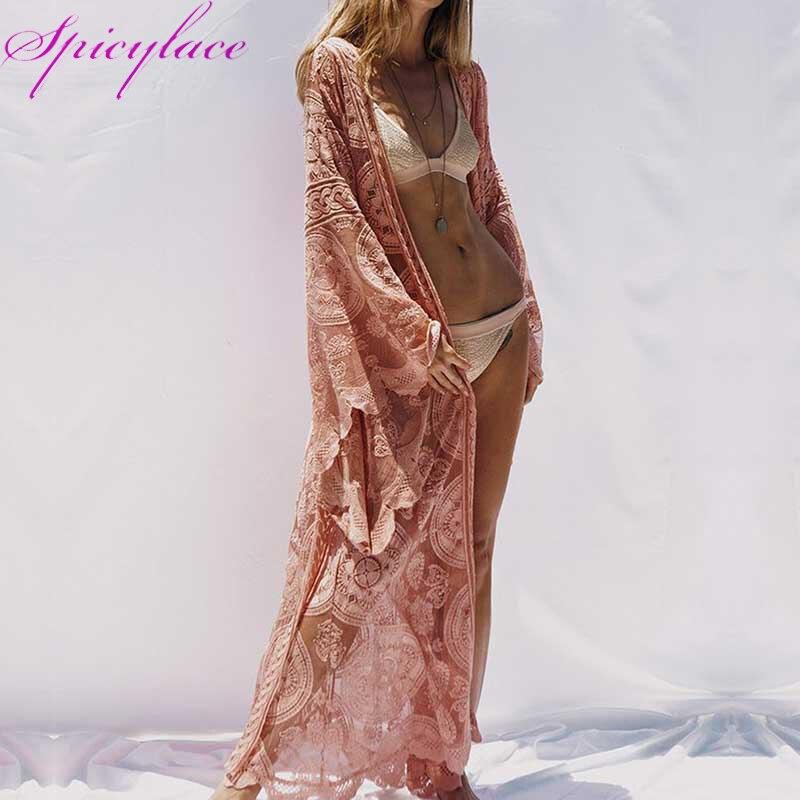 Femmes pleine dentelle kimono Cardigan plage longues Blouses demi manches dames chemise dentelle évider Blouses LXF185187