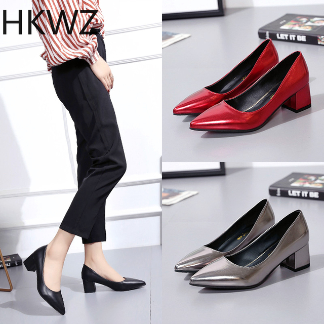 Patent leather high heel women's shoes 5cm thick with pointed shallow mouth office sandals wild solid color sexy gladiator shoes