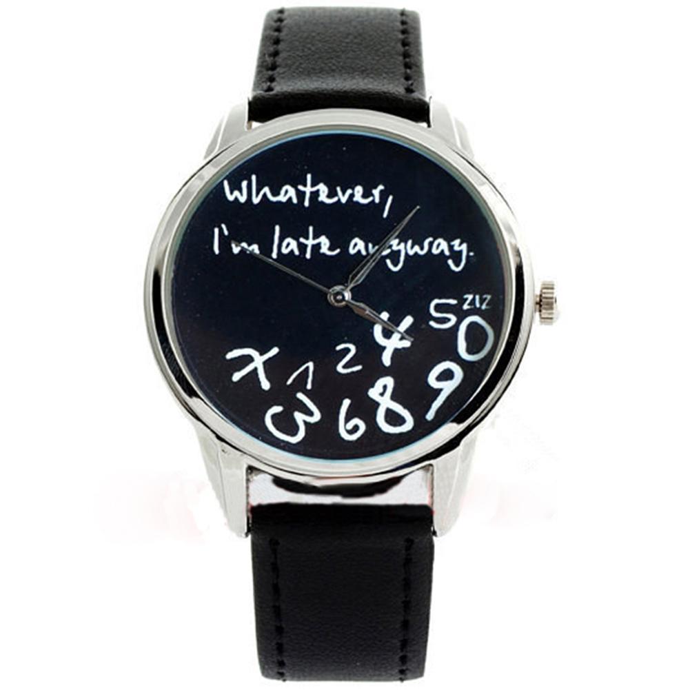Bild von Fashion Top Brand Luxury Big Round Dial Faux Leather Analog Quartz Women Fashion Geneva Wrist Watch