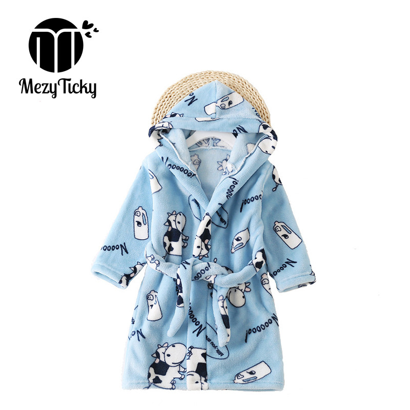 Bathrobe Kids Boys Robes Children Bathrobe Hooded Cap Soft Velvet Robe Pajama Kids Cotton Warm Clothes Baby Lovely Home Clothes Robes Men's Sleep & Lounge