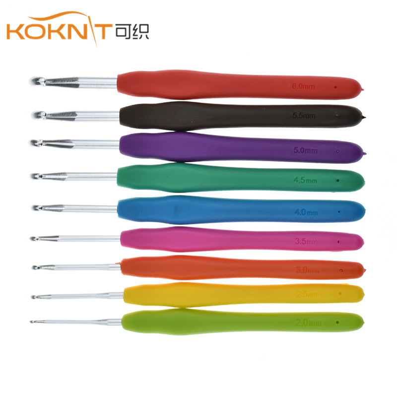 9Pcs/set KOKNIT Aluminum Crochet Hooks Soft Silicone Handle Ergonomic Knitting Needle Set