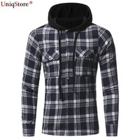 UniqStore Fashion Hoodies Young Men S Slim Clothes New Flannel Plaid Double Pocket Hoody Casual Men