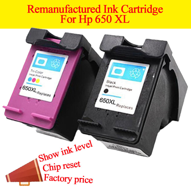 GN 2Pack 650XL Refilled Ink Cartridge Replacement for <font><b>HP</b></font> 650 XL for <font><b>HP</b></font> Deskjet 1015 1515 2515 2545 2645 <font><b>3515</b></font> 3545 4515 4645 image