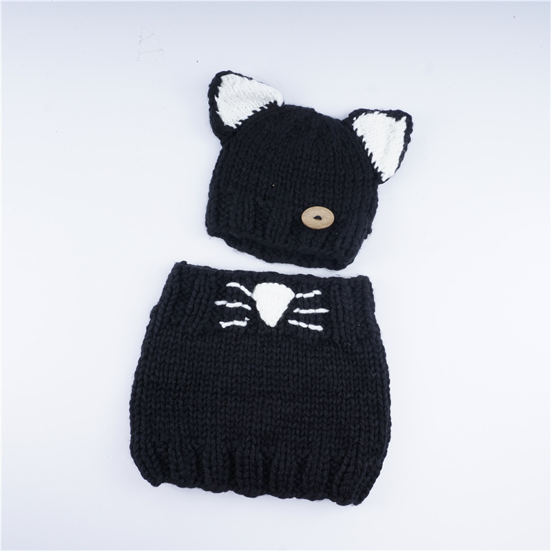 LGFD920  Cat  design  Knitting Wool feeling  Girls Shawl Hooded Cowl Beanie Cap  With scarf set   Acrylic  Beanie the new children s cubs hat qiu dong with cartoon animals knitting wool cap and pile