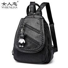 Nvrenlian Марка ПУ кожа рюкзак Для женщин Рюкзаки для подростков Обувь для девочек Школьные сумки черный Дизайн Винтаж рюкзак Mochilas Mujer