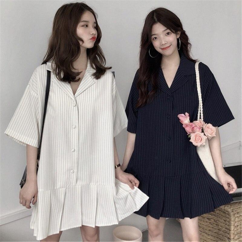 Summer Wear Korean Version Retro Relaxed College Wind Women Dress Student Stripes Short Sleeved Shirts Thin Femela Dress a-line