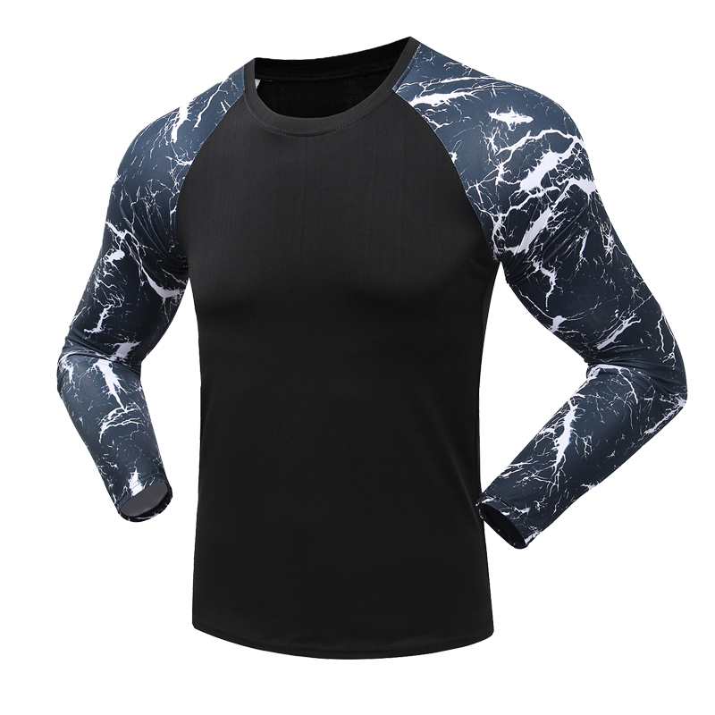 Mens Compression Shirts Bodybuilding Skin Tight Long Sleeves Compression Shirts Clothing Crossfit Exercise Fitness Sportswear