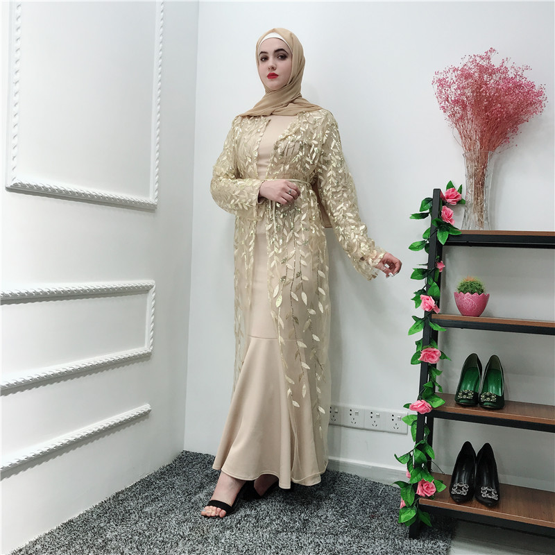Ramadan Open Abaya Dubai Turkey Islam Mesh Kimono Cardigan Muslim Hijab Dress Kaftan Abayas For Women Caftan Pakistan Loose Robe
