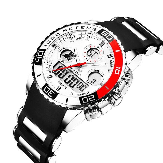 Лучший бренд класса люкс Часы Для мужчин резиновая светодиодный цифровой Для мужчин кварцевые часы Человек Спорт Армия Военная Униформа наручные часы erkek Коль saati