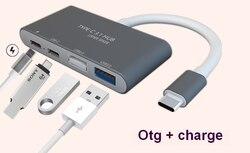 4 منافذ USB نوع-C وتغ تهمة محور محول الشحن و قارئ بطاقات hub شحن مجاني