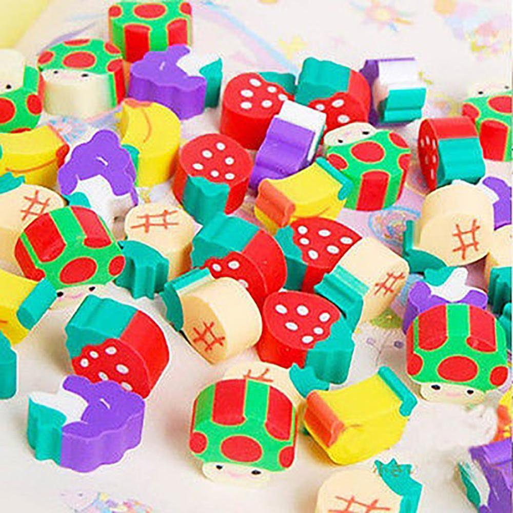 New 50Pcs/lot Mini Fruit Rubber Eraser With Plastic Bottle For Kids Gift Novelty Rubber Eraser School Supplies