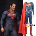 2017 нового супергероя Хэллоуин костюмы для мужчин взрослых Человек из Стали Лига Справедливости супермен взрослых (комбинезон + плащ + сапоги)
