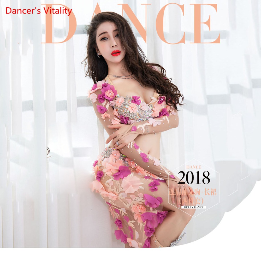 Professional Custom Made Belly Dance Performance Service Women 2018 New Sexy Fashion Suit Luxury Bra+Sexy Long Skirt 2pcs