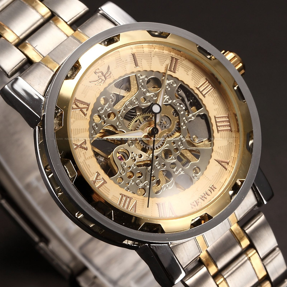 steel watch mechanical transparent dress unbranded pin steampunk skeleton band mens watches wrist automatic
