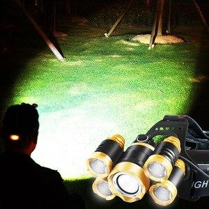 Image 4 - זום גבוה כוח פנס פנס T6 LED קדמי ראש אור מנורת 18650 נטענת פנס לציד ודיג