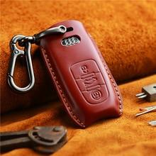 Genuine Leather Handmade Car Key Cover Case For Audi A4-B8 Q5 A6 A7 A8 S7 for Smart Car Key fob Cover case Bag Holder convenient durable leather key case holder for car black