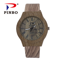 Roman Numerals Men's Bamboo Wooden Wristwatches Leather Luxury Wood Watches for Men as Gifts Item Relojes Relogio Masculino saat