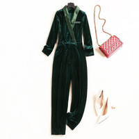 Women high quality sexy velvet jumpsuit deep v neck patchwork satin fitted jumpsuit overalls new 2018 autumn green black