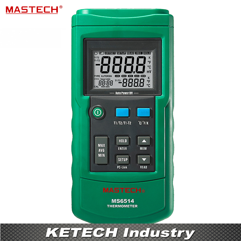 Dual Channel Digital Thermometer Temperature Logger Tester USB Interface 1000 Sets Data KJTERSN Thermocouple MASTECH MS6514 free shipping mastech ms6514 single channel temperature acquisition instrument thermocouple thermometer self calibration tester