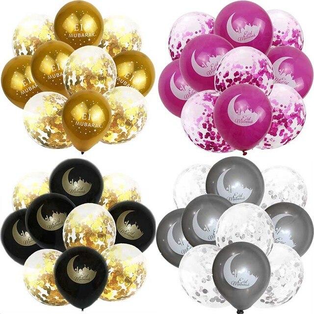 EID MUBARAK Balloons Ramadan Decoration Eid Silver Ballon Helium For Muslim Eid For Party Air Ball Mixed Gold Confetti S8XN