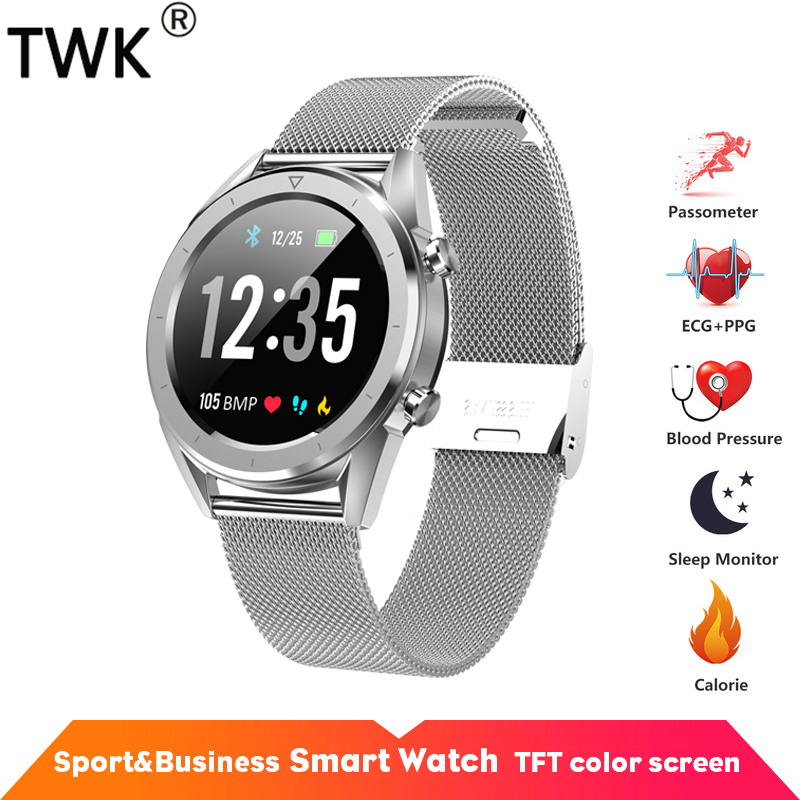 TWK Mens Watch ECG Heart Rate Smart Watch IP68 Waterproof Watches Sliver pk xiaomi mi band 3 Business Sport relogio inteligenteTWK Mens Watch ECG Heart Rate Smart Watch IP68 Waterproof Watches Sliver pk xiaomi mi band 3 Business Sport relogio inteligente